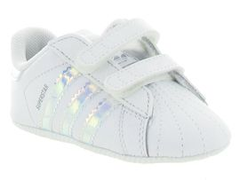 LAZAR FEATHER SUPERSTAR CRIB GIRL:Cuir lisse/Blanc/Blanc